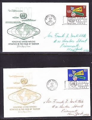 """United Nations """"Artmaster"""" 1967 - Tourism Year TWO  FDC  addressed"""