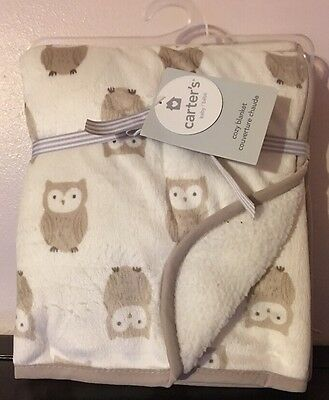 Carters Cozy Owl Baby Blanket Cream & Taupe Sherpa Back