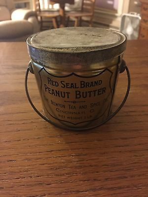 Vintage Peanut Butter Advertising Tin Pail,Red Seal Brand, Newton Tea, Jelly