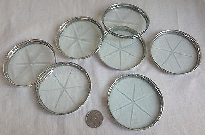Sterling Silver & Cut Glass Coasters Set of 7 Urn Detail Reticulated
