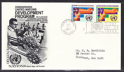 """United Nations """"Fleetwood"""" 1967 - Development Program First Day Cover addressed"""