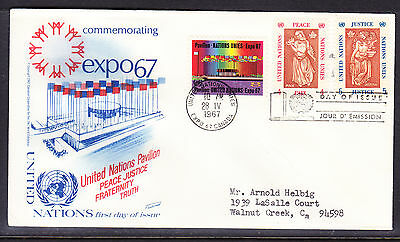 """United Nations """"Fleetwood"""" 1967 - Expo Peace & Justice First Day Cover addressed"""