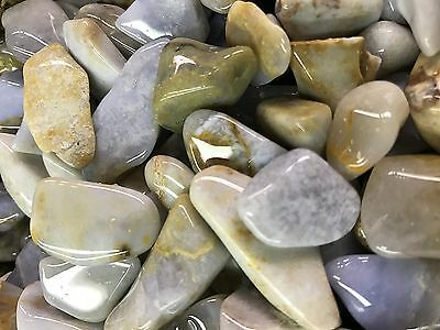 1000 Carat Lots of Polished Tumbled Blue Chalcedony + FREE Faceted Gemstone
