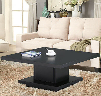 New Coffee Table Wood Black Square Modern Contemporary Living Room