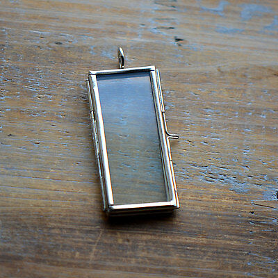 SILVER Rectangle Two-Sided Glass Frame Pendant Hinged Locket Charm Vintage Style