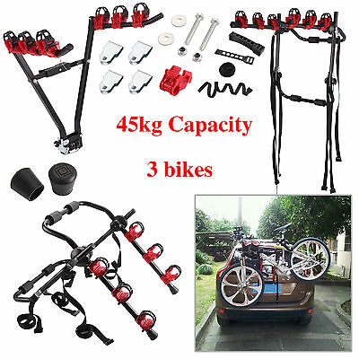 U&V Type Bicycle Carrier Rack For 3 Bikes Universal Fits Most Cars Rear Mount