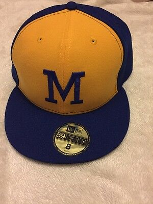 Yellow Milwaukee Brewers The Clock 59FIFTY FITTED HAT size 63.5 Cm