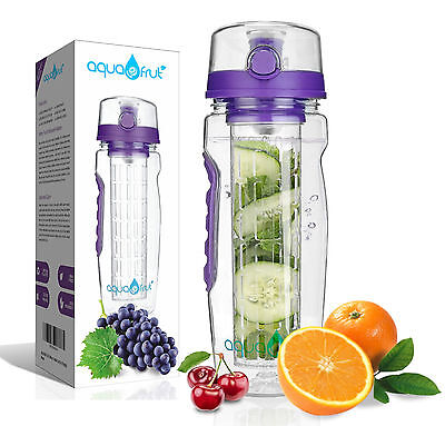 AquaFrut 32oz Fruit Infuser Water Bottle (Purple) with Bonus Brush! USA Seller!