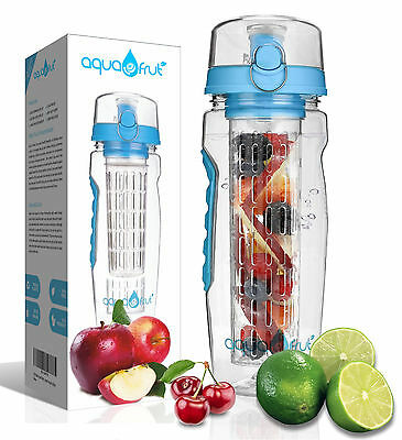 AquaFrut 32oz Fruit Infuser Water Bottle (Blue) with Bonus Brush! USA Seller!