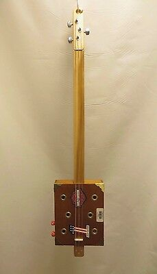 Cigar Box Guitar Acoustic Electric w/ Red Flasher UNIQUE #118