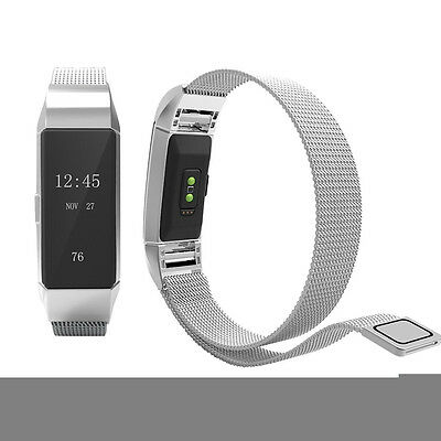 UK Milanese Magnetic Loop Stainless Steel Band Strap For Fitbit Charge 2 Large