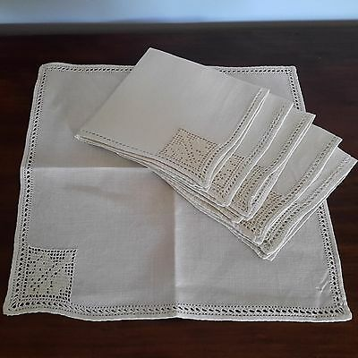 Set of 6 Vintage Linen Filet Crochet Napkins Serviettes