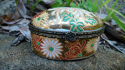 Collectable Ceramic, Enamel with Brass Trim Oval Lidded Trinket Box