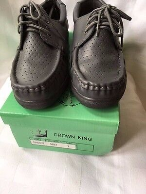 Crown King Charlotte Leather Bowls Shoe Grey Lace Up Uk Size 11 New With Box