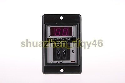ASY-2D Panel Mount 1-99S Black Digital Timer Time Delay Relay AC/DC 12V 8 pin