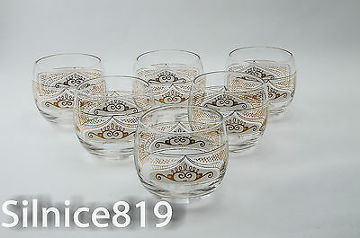 Vintage Signed Fred Press Roly poly MId century Glasses set of 6