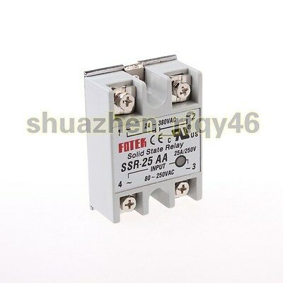 New Solid State Relay Module SSR-25AA AC-AC 25A 80-250VAC/24V-380VAC