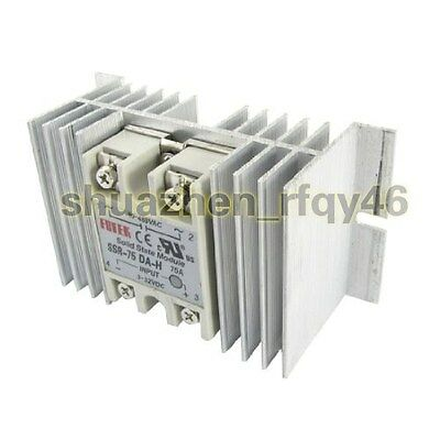 New SSR-75 DA-H 75A Single Phase Solid State Relay 90-480V AC with Heat Sink