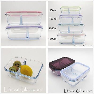 Compartments Meal Box Pyrex Glass Food Storage Containers Lunch Box with Divider