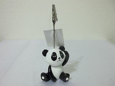 "Panda bear note holder press clip 5"" black and white desk accessory office NEW"