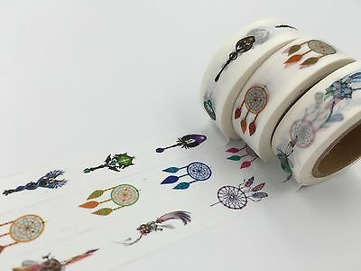 Indian Dream Catcher Print Washi tape Earring feather pendant Cane Brooch Luck
