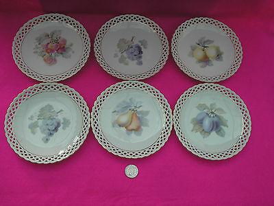 Collectable Small China Plates X 6 'ahumann' Fruits Basket Weave Gold Trim
