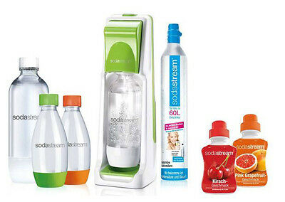 SodaStream Cool Super-Spar-Pack weiß/grün, 2 + 2 PET Flaschen, CO2-Zyl, 2 Sirup
