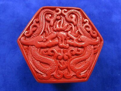Vintage 1970's Chinese Hexagonal Carved Red Cinnabar Trinket Box
