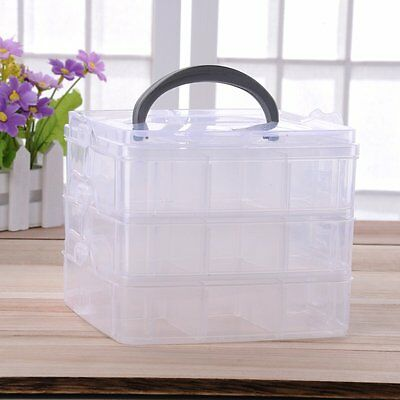 Plastic Clear Jewelry Bead Organizer Box Storage Container Case Craft Tool