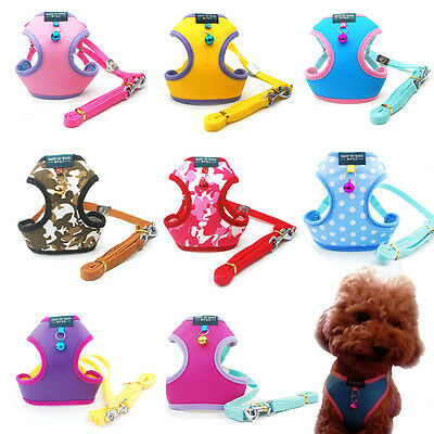 Small Cat Pet Dog Puppy Soft Mesh Fabric Adjustable Harness Lead Leash with Clip