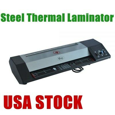 """Steel Thermal Laminator A3 A4 Hot & Cold 13"""" Machine Roller Pouch Photo USA"""