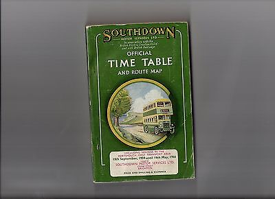 Southdown Motor Services Ltd Official Timetable & Route Map 1959/1960