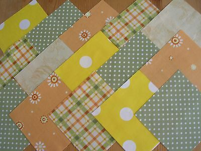 "40 x 4"" CHARM PACK GREEN & ORANGE 100% COTTON PATCHWORK/QUILTING/CRAFTS  OGN"