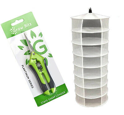 Hydroponic Hanging Growing Dry Rack 8 Tier Grow Herb Drying Net With Scissors