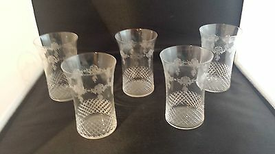 vintage victorian/edwardian etched flare top tumblers x 5
