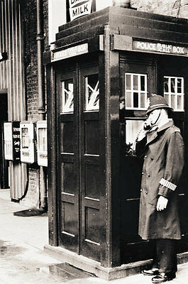 photos taken from 1950' & 1960's images - set of 5 of police telephone boxes