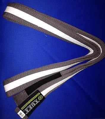 Kids BJJ Belt, Tuff Fightwear brazilian jiu jitsu Grey/White M3