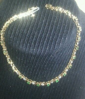 Emerald and Diamond bracelet 9ct yellow gold