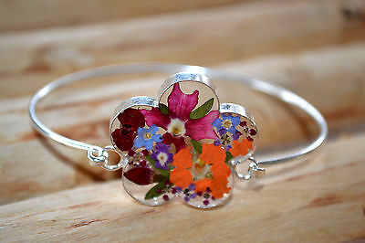 Daisy Bracelet .925 Sterling Silver Pressed Real Mix Flowers Oval Design Mexico