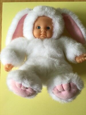 Plush Beanie Doll - Baby In White Bunny Costume