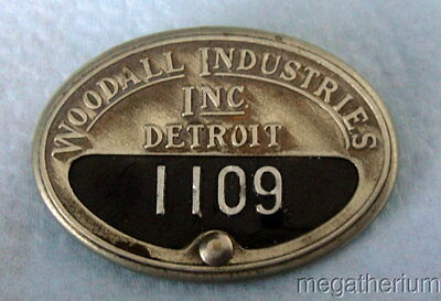 Old Employee ID Badge: WOODALL INDUSTRIES; Detroit Auto & WWII Military Supplier