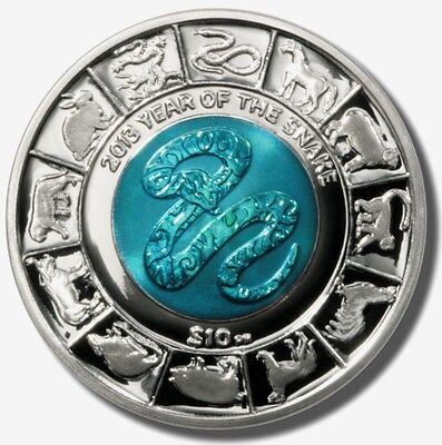 British Virgin Islands 10 $ Lunar Year Of Snake Bimetal Silver / Titanium 2013