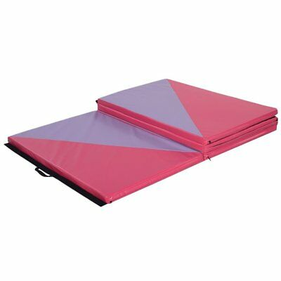Pink Suede Gymnastics Folding 8ft Balance Beam+Panel Mat 2.4/3 MHome Training UK