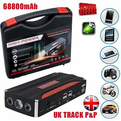 68800mAh Heavy Duty 4 USB Car Jump Starter Portable Power Bank Emergency Charger