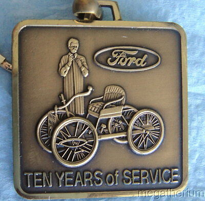 Vintage Brass FORD MOTOR CO Service Award Key Fob: 10 Years Service; Key Chain