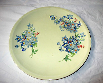 "9.5"" Paden City Pottery Plate, Pale Yellow, Blue Flower Bouquets, ca. 1939"