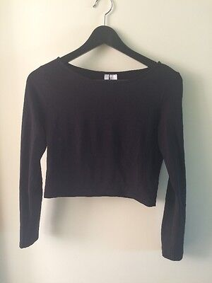 H&M Size Small S Black Crop Top Cropped T-shirt