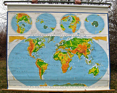 Vintage Nystrom Pulldown School Map of the World