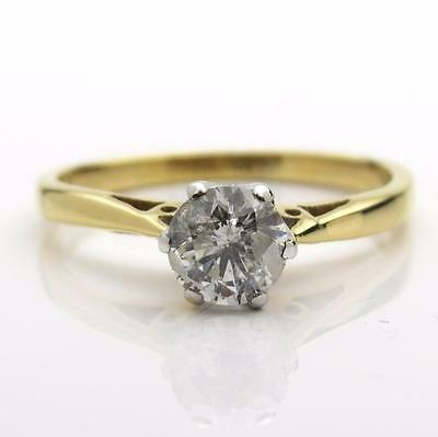 0.50ct Real Diamond Solitaire Ring 18ct Gold Size J1/2 UK Hallmark CLEARANCE