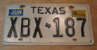 1988 Texas License Plate Expired Xbx 187